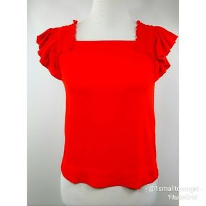 Maeve ruffle cap sleeve square neck red top S
